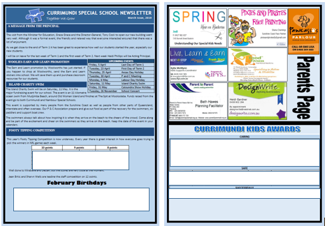 Example of Currimundi Special School's newsletter